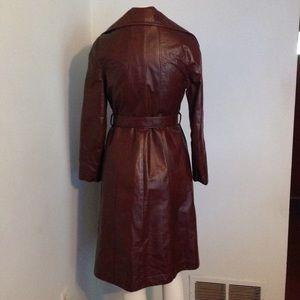 Vintage Jackets & Coats - Vintage Large Lapel Princess Belted Leather Coat
